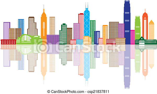 stadt, hong, farbe, panorama, abbildung, kong, skyline - csp21837811