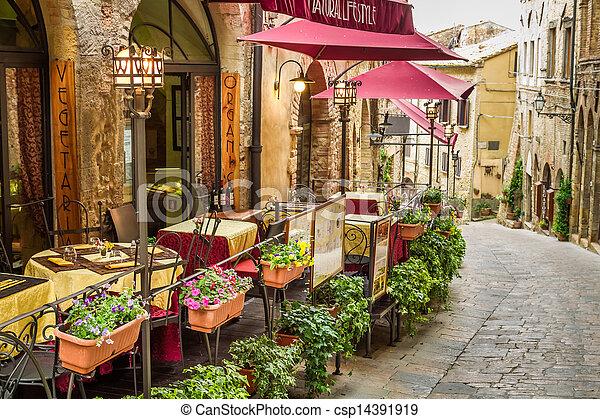 stadt, italien, weinlese, altes , ecke, café - csp14391919