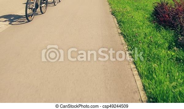 stadt, kugel, pov, fahrrad, radfahren, entlang, straße