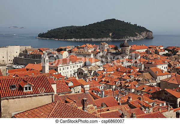 stadt, mittelalterlich, dächer, dubrovnik, aus, kroatien - csp6860007