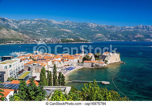 stadt, montenegro, altes , budva - csp16975794