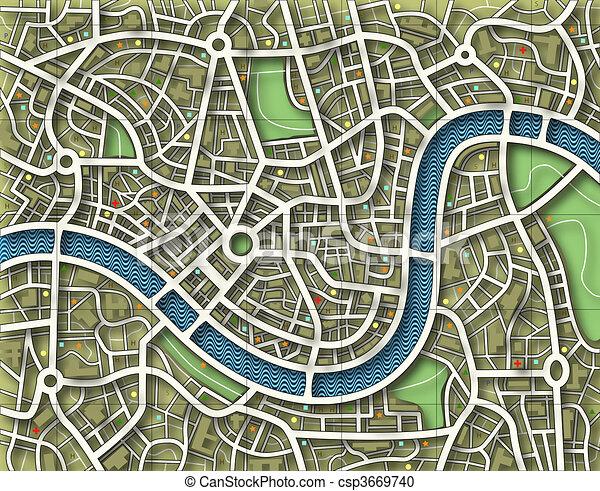 Namelose Stadtkarte - csp3669740