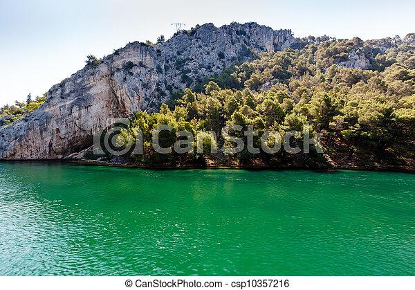 stadt, nationalpark, skradin, krka, kroatien, fluß - csp10357216