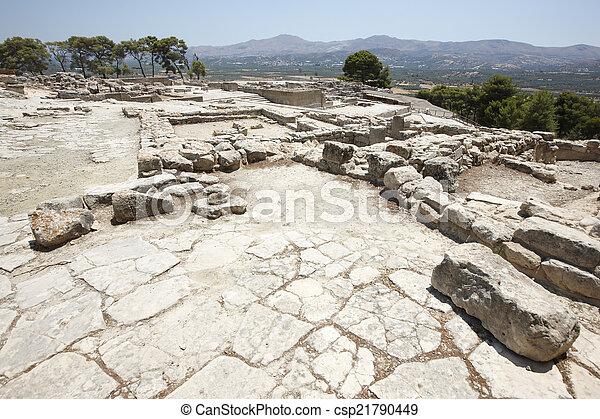 stadt, palastartig, minoan, griechenland, ruinen, phaestos, crete. - csp21790449