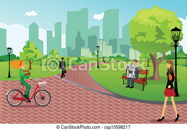 Stadt Park Leute Vektor