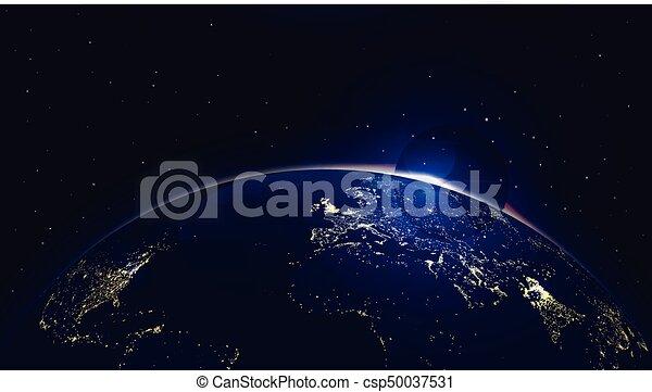 Vector Hintergrund Erde mit Sonnenaufgang in Raum und Stadtlicht - csp50037531