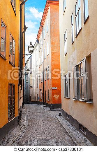 Die Altstadt in Stockholm, Schweden - csp37336181