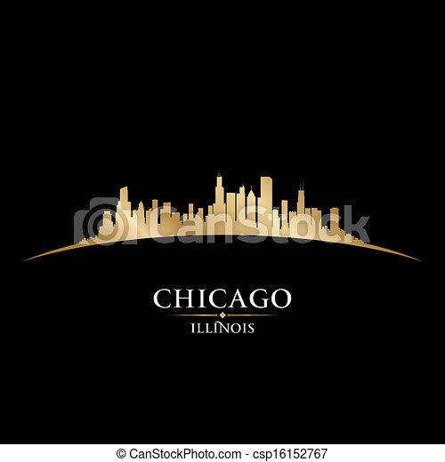 stadt, silhouette, chicago, illinois, skyline, schwarzer hintergrund - csp16152767