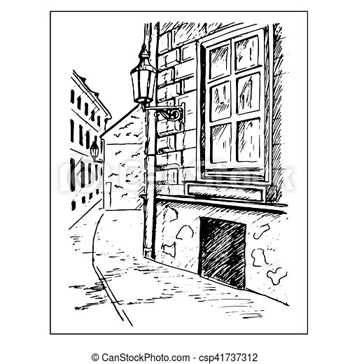 Stadt skizze altes lantern hand fenster stra e for Fenster 800x800