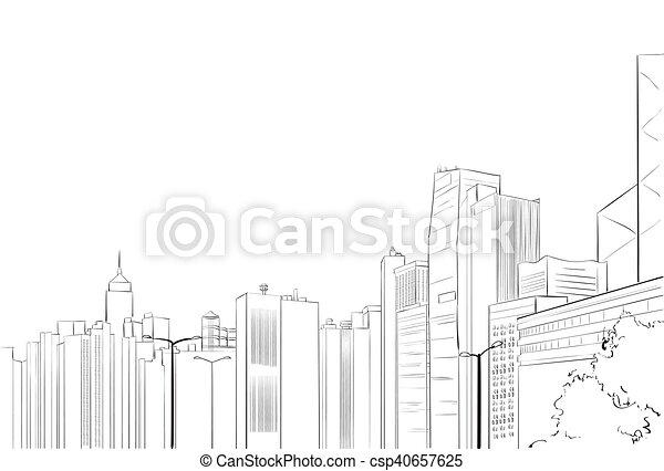 stadt, skizze, skyline, wolkenkratzer, cityscape, ansicht - csp40657625