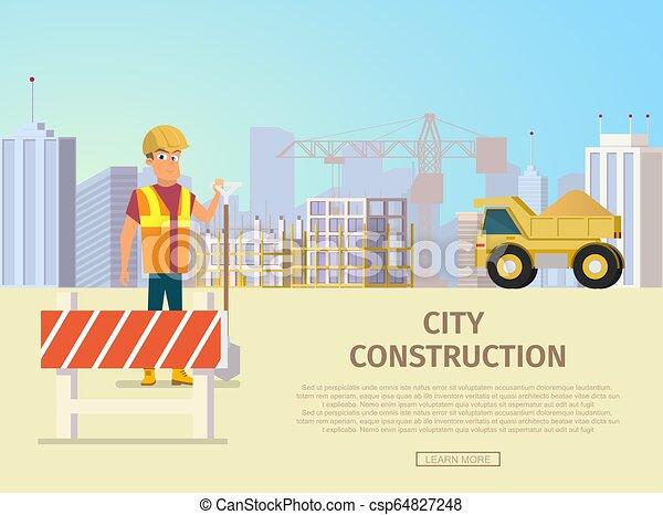 City Bau-Vektor-Landungs-Seite Vorlage - csp64827248