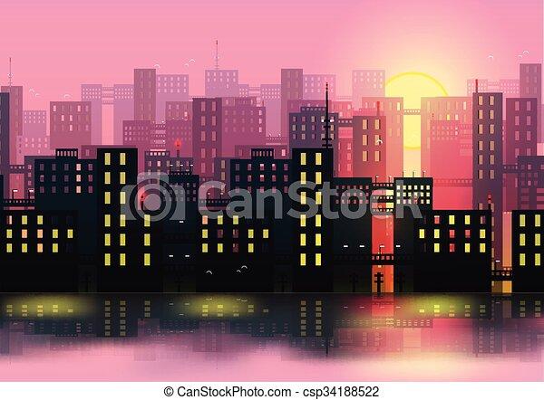stadt, vektor, -, skylines, abbildung - csp34188522