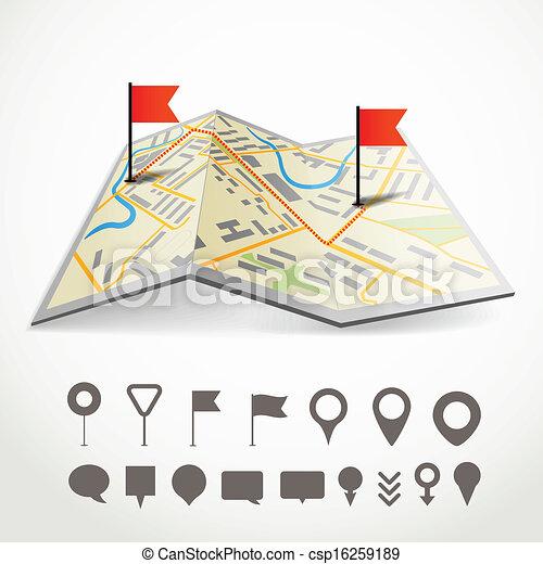 Falte abstrakte Stadtkarte mit der Route und Sammlung von verschiedenen Pins - csp16259189