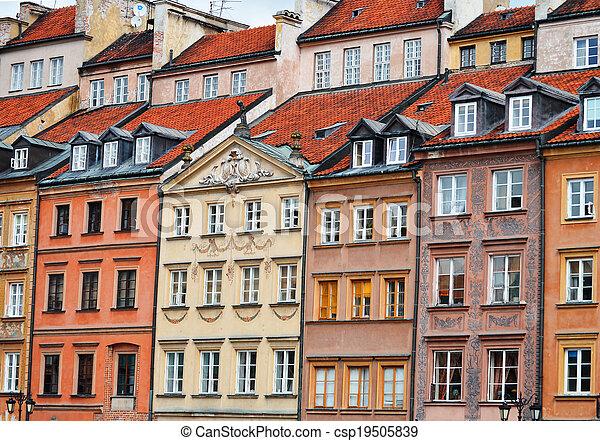 stadt, warschau, polen, alte architektur - csp19505839