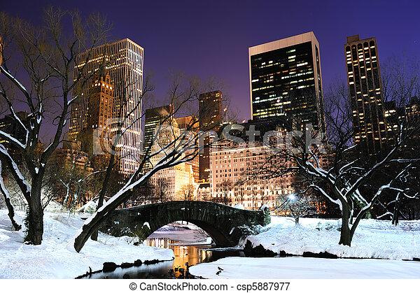stadt, zentral, dämmerung, panorama, park, york, neu , manhattan - csp5887977