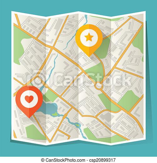 stadtlandkarte, abstrakt, gefaltet, ort, markers. - csp20899317