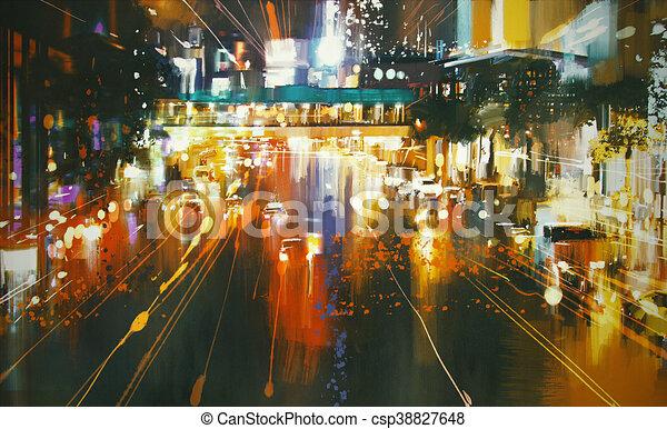 Stadtstraße, rücklichter. Stadt, auto, rücklichter, straße ...