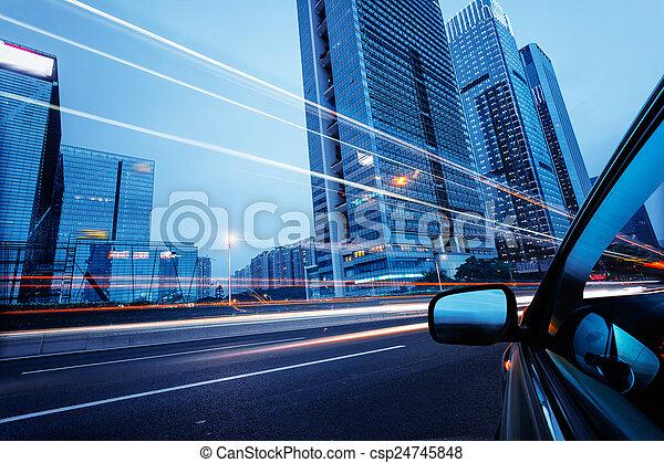 stadtzentrum, auto, durch - csp24745848
