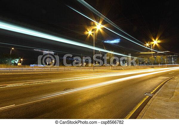 stadtzentrum, hongkong, verkehr, nacht - csp8566782