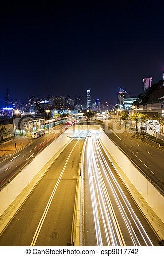 stadtzentrum, hongkong, verkehr, nacht - csp9017742