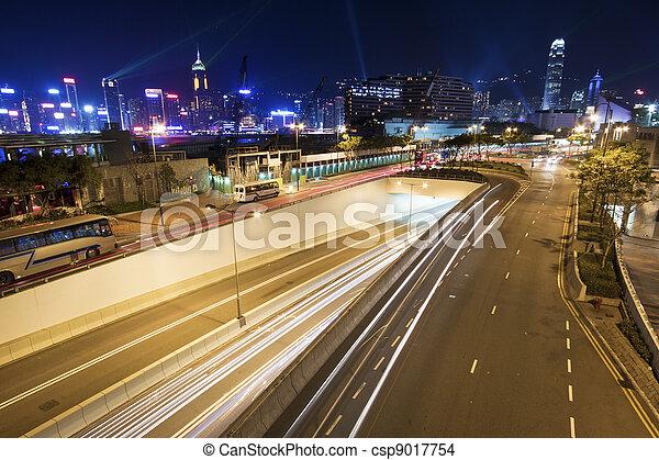 stadtzentrum, hongkong, verkehr, nacht - csp9017754