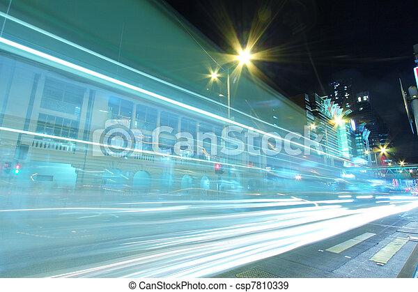 stadtzentrum, hongkong, verkehr, nacht - csp7810339