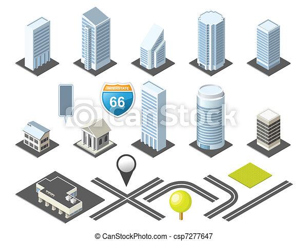 stadtzentrum, landkarte, isometrisch, toolkit - csp7277647