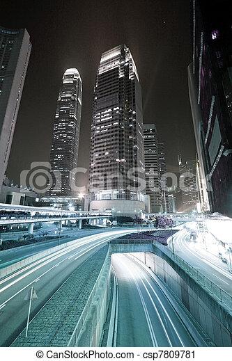 stadtzentrum, niedrig, verkehr, image., beschäftigt, kong, hong, sättigung - csp7809781