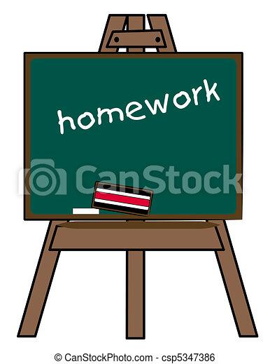 Tafel schreiben clipart  Stock Illustration von staffelei, tafel, wörter, hausaufgabe ...