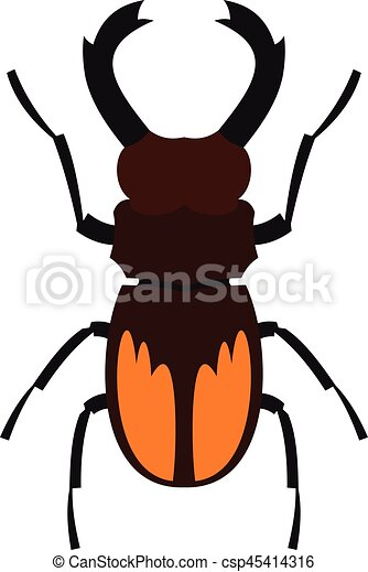 Stag beetle icon, flat style - csp45414316
