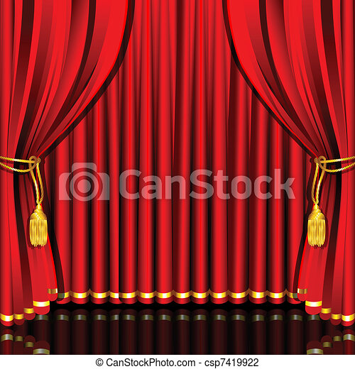 Stage Curtain Illustration Of Red Drape Tied With Rope
