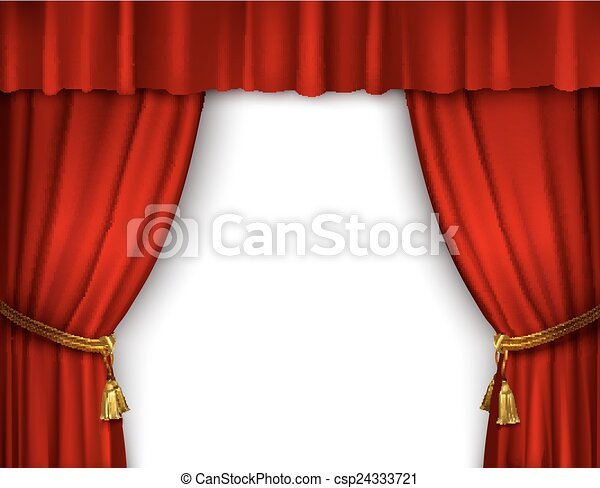 Stage Curtain Isolated Red Open Theater Velvet With