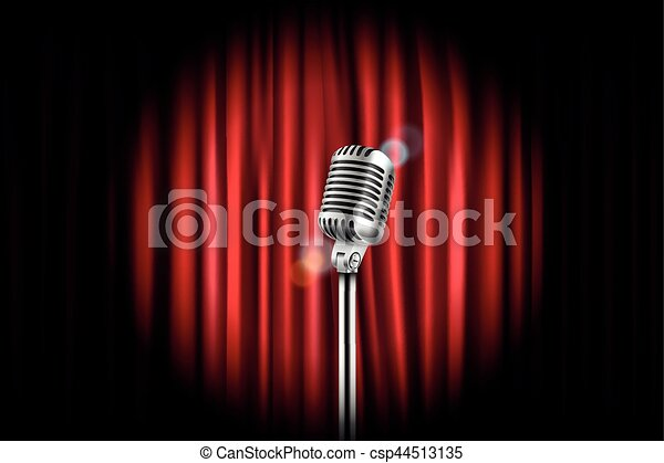 Stage curtains with shining microphone vector illustration. Standup comedy show concept - csp44513135