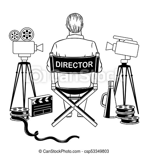 Stage Director On Set Coloring Book Vector Illustration Comic Book