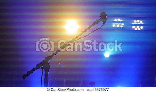 Stage Lighting Equipment Beam And Microphone Stand In A Night Club