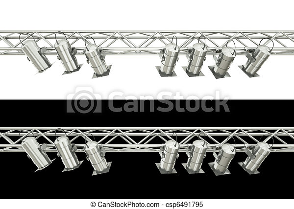 Stage Lighting Spotlights Isolated Over White And Black