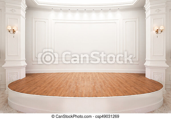 Stage Of Auditorium With Wooden Floor