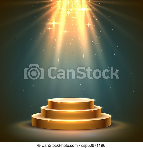 Stage Podium Scene with for Award Ceremony. - csp50871196