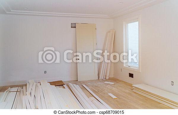 stage., sheetrock, hinzufügung, haus, remodel., baugewerbe, unter, neu , drywall - csp68709015