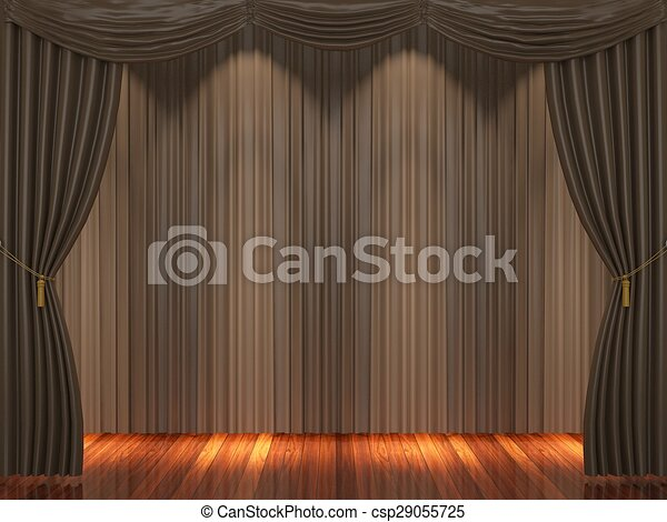 Stage With Brown Curtains
