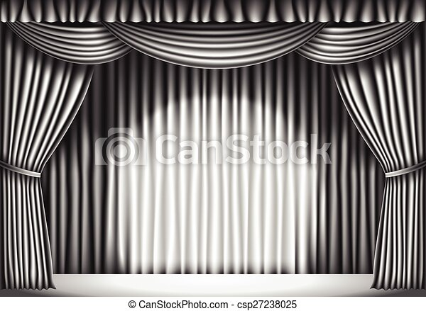 Stage With Curtain White Black And Retro