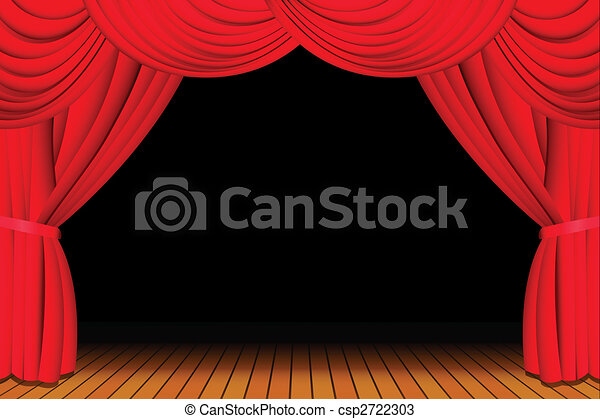 Stage with opened red curtain - csp2722303