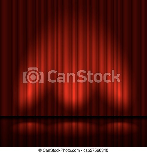 Stage with red curtain - csp27568348