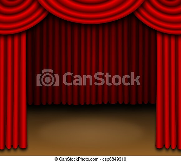 Stage With Red Draped Curtains   Csp6849310