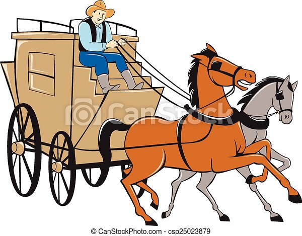 stagecoach driver horse cartoon illustration of a vectors rh canstockphoto com stagecoach clip art free wells fargo stagecoach clipart