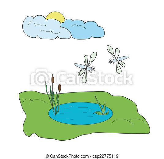 Stagno libellule nubi prato sole due piccolo stagno for Piccolo stagno