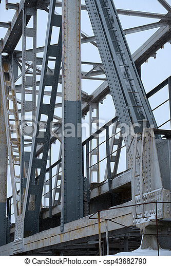 Old Bridge-Stahl-Struktur auf 2 - csp43682790