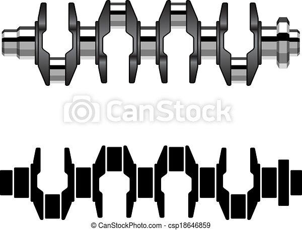 stahl, crankshaft, vektor, motor - csp18646859