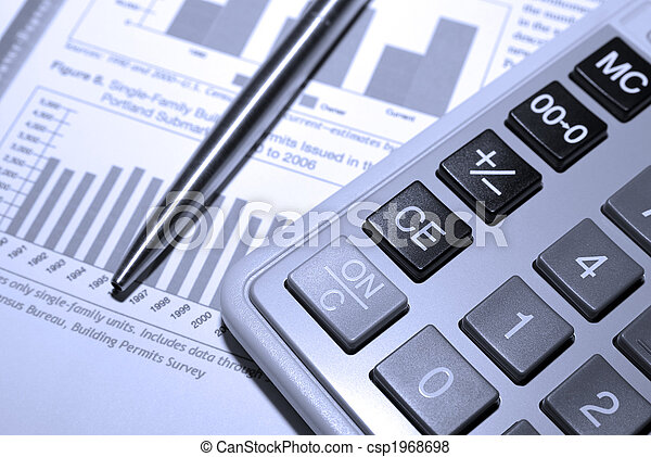 stahl, finanziell, taschenrechner, analyse, stift, report. - csp1968698