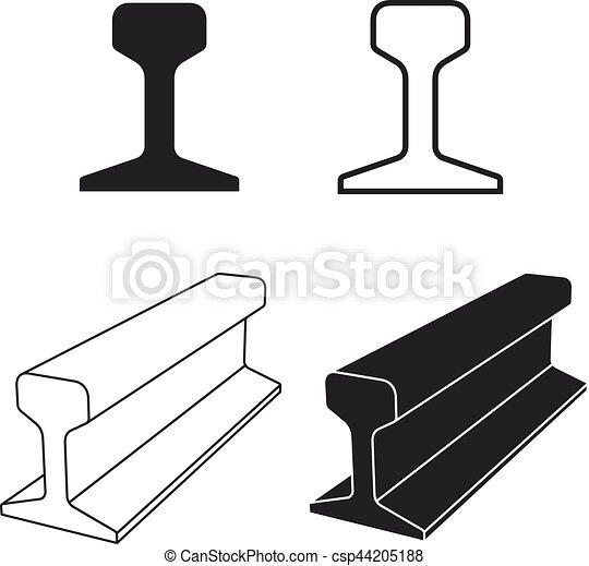 stahl, profil, spur, symbol, schiene, zug - csp44205188